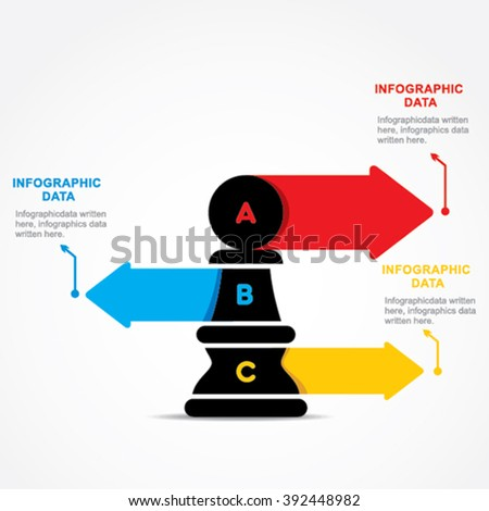 creative business info-graphic by chess pawn design vector - stock vector