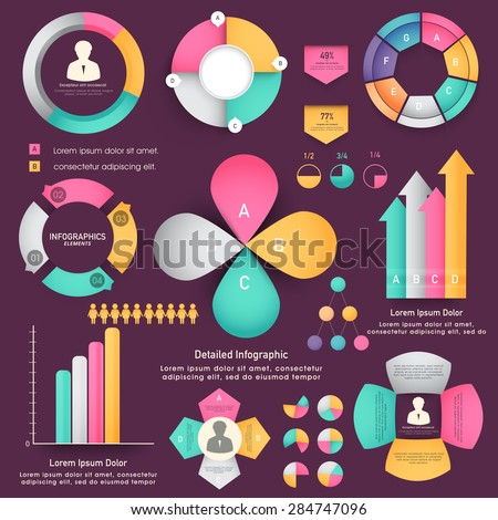 Creative business infographic template layout with different statistical elements for your business reports and presentations. - stock vector