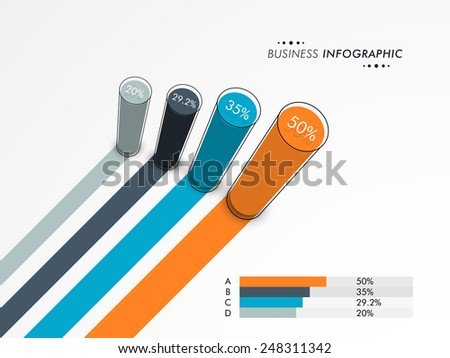 Creative business infographics layout with statistics or growth chart for official presentation on grey background. - stock vector