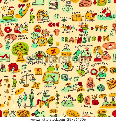 Creative business people color objects and icons seamless pattern Seamless pattern with creative people color objects and icons. Color vector illustration. - stock vector