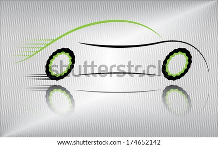 Creative car vector illustration. Outline of a sport vehicle in motion. Abstract black and green auto design on metallic background. Raster and more variations available in my portfolio. - stock vector