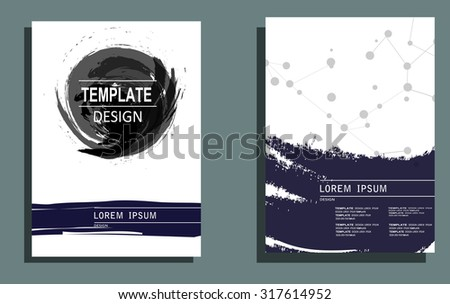 Creative Cards with Hand Drawn Textures Made with Ink. Abstract Modern Backgrounds. Patterns for Placards, Posters, Flyers and Banner Designs. - stock vector