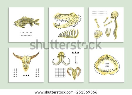 Creative Cards with Skulls and Bones. Isolated on white background. - stock vector