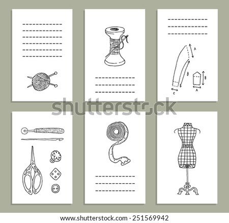 Creative cards with vintage sewing accessories. Vector. Doodle. Isolated. - stock vector
