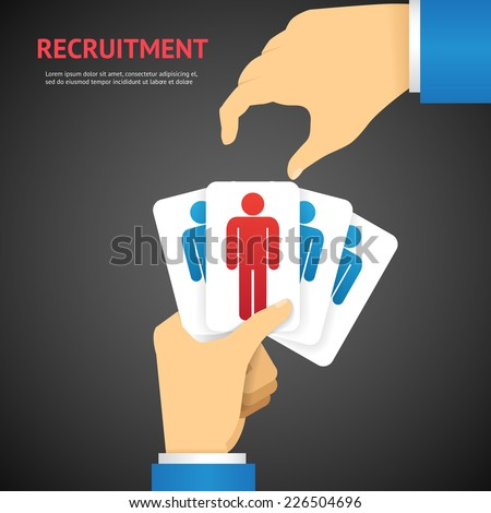 Creative Cartooned Recruitment Cards Hold by Hand Concept on Dark Gray Background. - stock vector