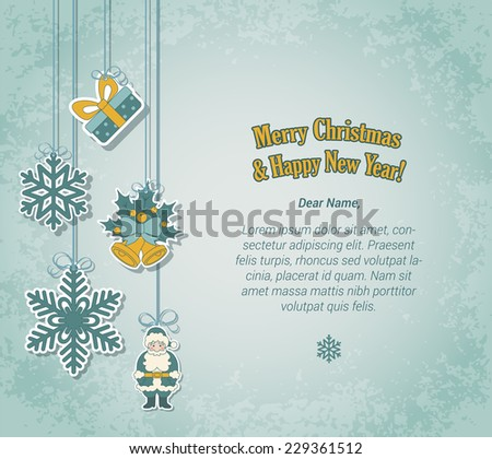 Creative Christmas and New Year postcard template in sticker label style. Holiday tree decorations on threads and place for your congratulation text. Decorative winter holidays elements collection. - stock vector