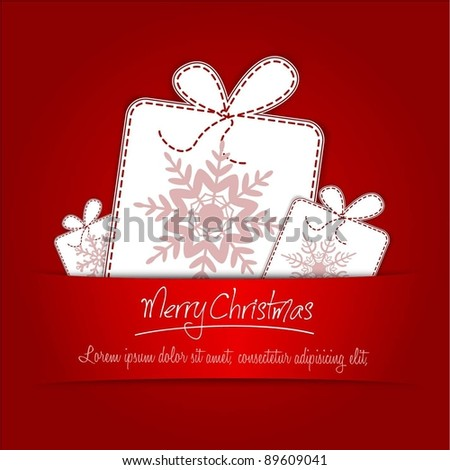 Creative Christmas Background With Gift Box - stock vector