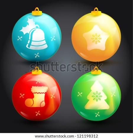 Creative Christmas ball isolated on  background - stock vector