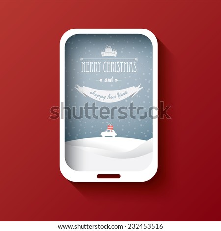 Creative Christmas card design with smartphone and background. Eps10 vector illustration - stock vector