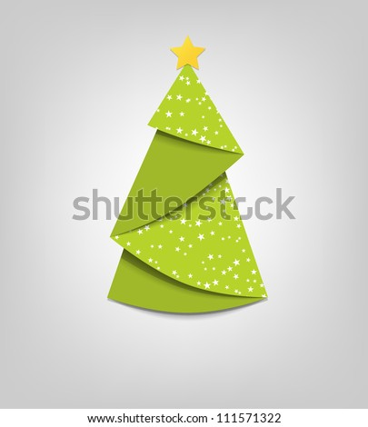 Creative Christmas tree card. Vector origami - stock vector