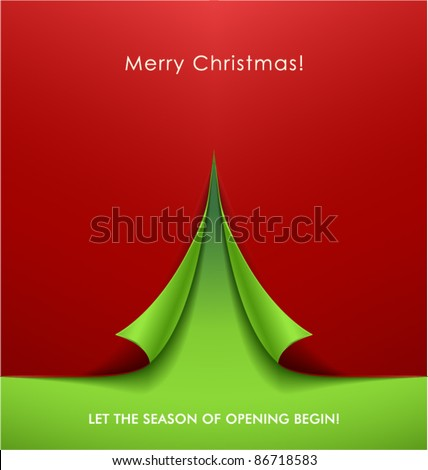 Creative Christmas tree formed from curled corner paper. Vector Illustration.