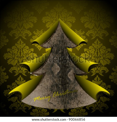 Creative Christmas tree formed from golden torn paper. Vector Illustration. - stock vector