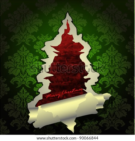 Creative Christmas tree formed from green torn paper. Vector Illustration. - stock vector