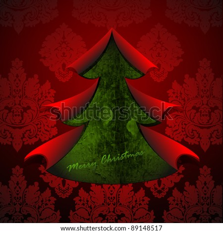Creative Christmas tree formed from torn paper. Vector Illustration. - stock vector