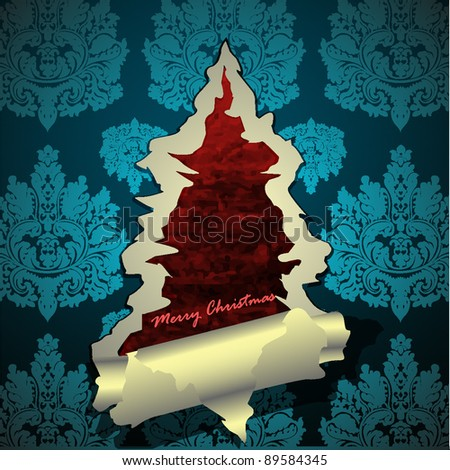 Creative Christmas tree formed from torn paper. Vector Illustration - stock vector