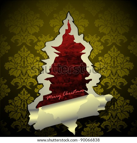 Creative Christmas tree formed from yellow torn paper. Vector Illustration. - stock vector