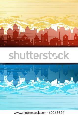 Creative city theme background vector - stock vector