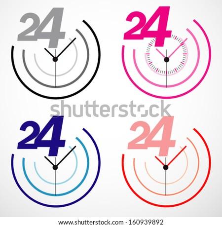Creative clock icon design. - stock vector