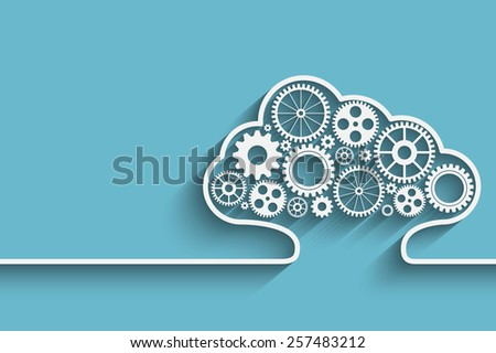 Creative cloud background with gears. Eps10 vector for your design - stock vector