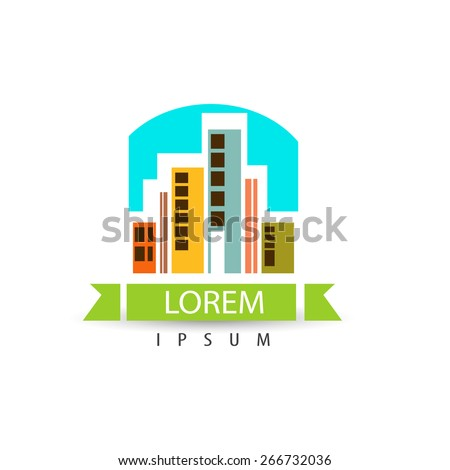 Creative colorful architecture city logo design. Trendy business concept. Vector logotype for your company. Artistic building icon. - stock vector