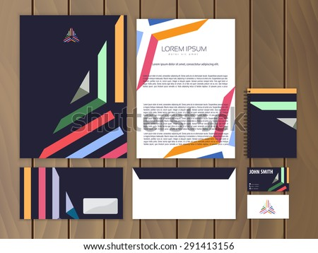 Creative colorful corporate identity with triangle logo design template. Trendy stationery business concept. Vector illustration. - stock vector