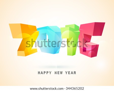 Creative colorful 3D text 2016 on shiny background for Happy New Year celebration.