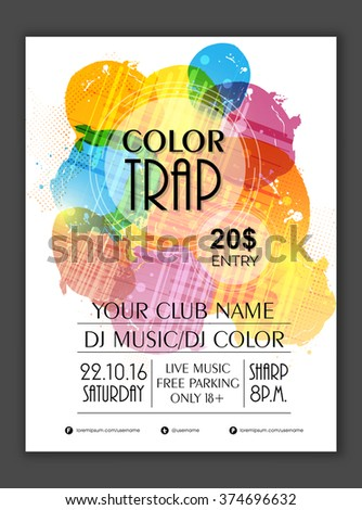 Creative colorful Flyer, Banner or Template design for Musical Party celebration. - stock vector