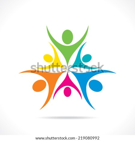 creative colorful people teamwork , unity or discussion concept vector - stock vector