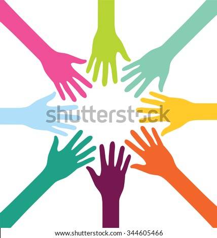 Creative Colorful Teamwork People Hand - stock vector