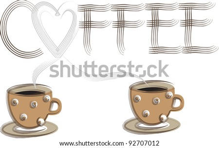creative computer graphic design,two coffee cups and the word coffee made of smoke isolated on white background,advertising vector background - stock vector