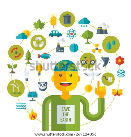 Creative concept of Ecology Science. Vector illustration. Man with Eco icons and symbols. Go green concept. Save world. Save the planet. Save the Earth. Think green. - stock vector