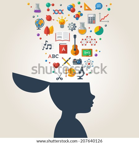 Creative concept of education. Vector illustration. Boy silhouette with school icons and symbols in his head. Back to school. Learning process. - stock vector