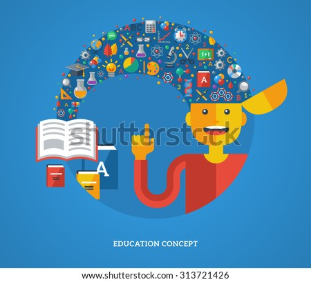 Creative concept of education. Vector illustration. Boy student with school icons and symbols flying from books into his head. Back to school. Learning process. - stock vector