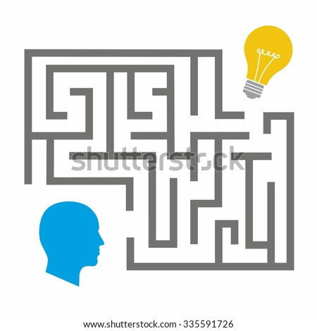Creative concept of human brain, vector illustration. Flat style. Business Idea Development poster or banner. Man head with abstract brain inside. Start up infographic on world map - stock vector