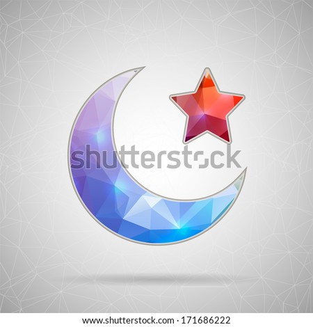 Creative concept vector icon of Crescent Islamic symbol for Web and Mobile Applications isolated on background. Vector illustration creative template design, Business software and social media. - stock vector