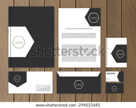 Creative corporate identity. Documentation for business. Vector stationery design template. - stock vector