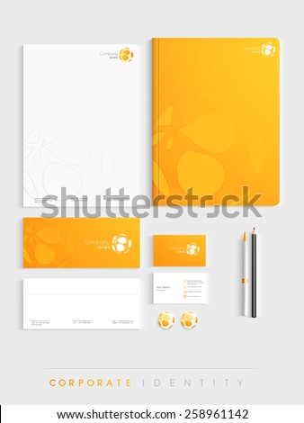 Creative corporate identity kit includes Letterhead, Envelope, Business Card and File Folder with Business Symbol.  - stock vector