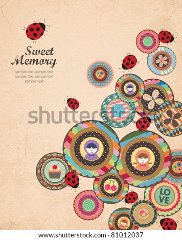 Creative Cover and Album Art Design in Retro Style. A Lot of Scrapbook Element. - stock vector