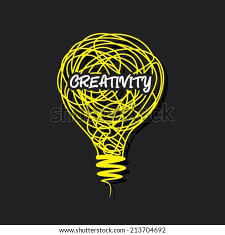 creative creativity word on bulb design concept vector - stock vector