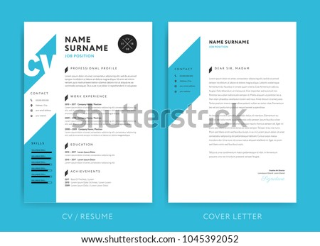 Creative CV Resume Template Blue Background Stock Vector 1045392052