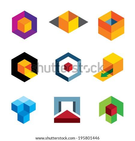Creative 3d cube body for professional company icon logo - stock vector