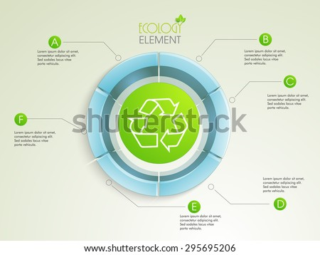 Creative 3D statistical infographic element with illustration of shiny recycle sign or symbol for ecology concept. - stock vector