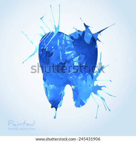 Creative Dental Logo Design. Vector Illustration. Tooth Painted with Blue Watercolor Splashes. Teeth Idea for Dentistry Corporate Identity Design. - stock vector