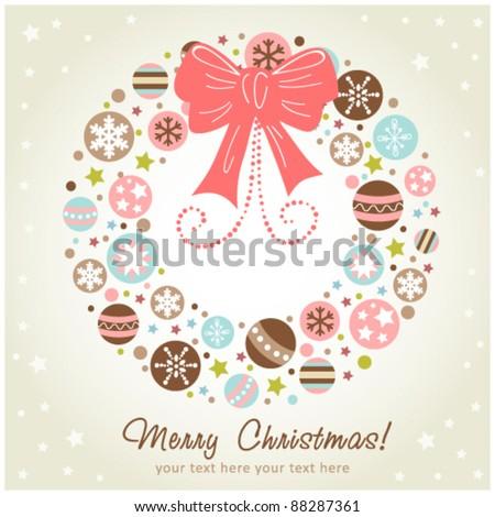 Creative design Christmas wreath with xmas toys, balls, stars and ribbon - stock vector
