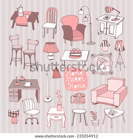 Creative design furniture set in color - stock vector