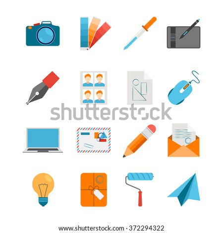 Creative design icons flat set for web and graphic design with camera mouse digitizer laptop on white background isolated vector illustration