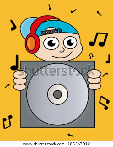 Creative design of  boy and disk. Fully editable vector.