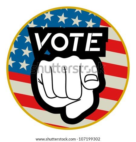 Creative design of vote American stick - stock vector