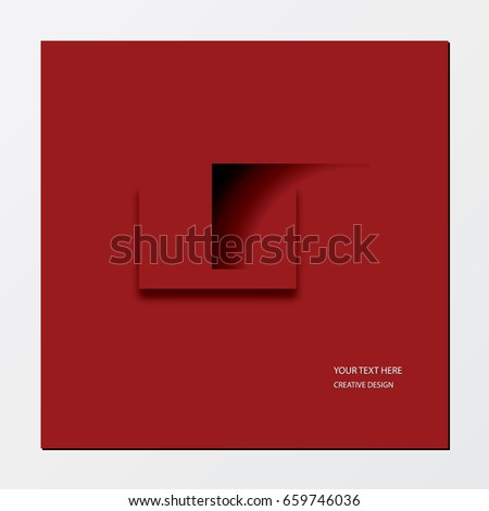 Creative design. Red banner background. Elements for design. Shadow rectangles.
