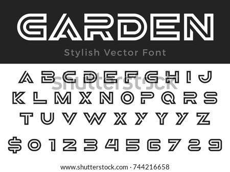 Creative Design Vector Linear Font For Title Header Lettering Logo Monogram